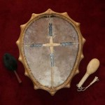 Large Oval Drum - natural, metal-cross-handle - inside