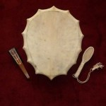 Small Oval Drum - natural, metal-cross-handle - front